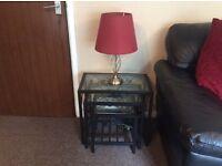 Wine & brass table Lamp