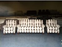 Ex-display Henley P.K. mink striped fabric 3 seater sofa and 2 armchairs