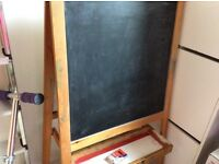 Drawing board with chalk black board and Flet Tip Pen white board, puzzles, toys, clothes etc