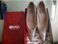 Designer shoes by Renata size 37. Color blue/pink metallic.