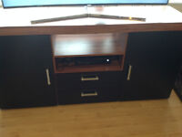 Large 2 Door 2 Drawer Sideboard Black brown Cupboard TV Cabinet Furniture