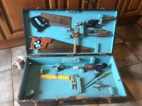 Carpenters vintage wooden tool box including tools