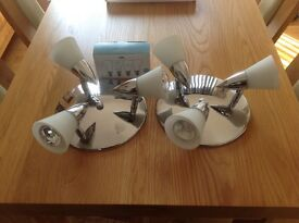 2 x Spotlights 3 spot Silver Including bulbs and a box of 4 included