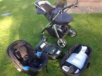 Silver Cross Wayfarer Pushchair, Carrycot & Simplicity Car Seat - Blue