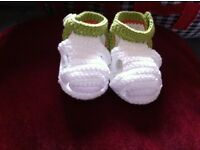Hand knitted baby sandals 100% cotton,size 10cm, home made