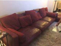 Red leather corner or versatile modular sofa