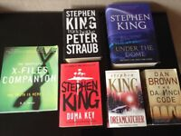 Selection of good, used books, Stephen King, X Files and Dan Brown.