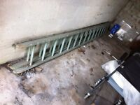 Wooden double ladder 3.6m long, extends to over 6m, mainly good condition