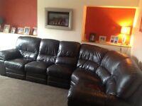 Large Brown Leather Corner Reclining Sofa