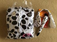 Ladies dalmation dog onesie, plus ears and tail