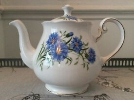 Queen Anne Bone China Tea Pot, Blue Corn Flower.