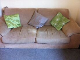 Used brown fabric 3 & 2 seater sofa for sale