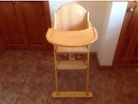 Mothercare Valencia wooden pine natural high chair
