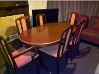 Superior quality extendable dinning table with 6 chairs ( Free delivery see description)