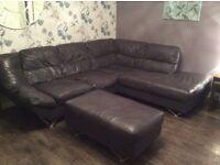 Leather corner of & footstool