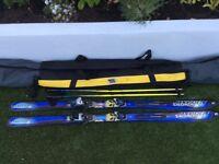Salamon Axedo 8 (178cm) Skis with Salmon 800 Bindings, plus Rossingol Poles (120cm) and Ski Bag