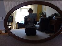 Mirror Oval shape brown wooden frame