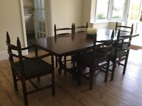 Youngers oak toledo dining table and 6 chairs