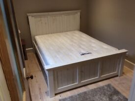 Solid pine Vermont-style king size bed painted oyster white