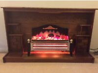 Wooden Fireplace and fire