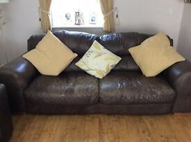 Dark chocolate leather sofas
