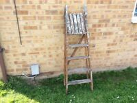 VINTAGE 4 FOOT FOUR TREAD WOODEN STEP LADDERS