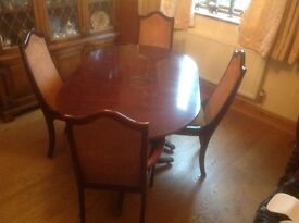 Vintage 1960s dining table and four chairs