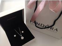 Pandora Luminous Florals Stud Earrings & Pendant & Chain