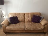 QUICK SALE NEEDED 3 seater, tan leather DFS sofa, Super comfy, good condition