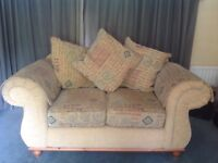 3 2 & 1 large Suite of furniture in excellent condition. Base plain cushions multi colour.