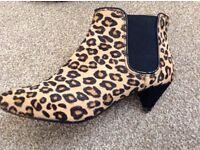 CLARKS Leopard Faux Fur Kitten Heel Boots - Size 4