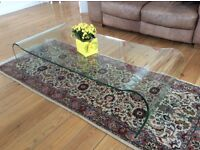 HIGH QUALITY CURVED GLASS COFFEE TABLE - EXCELLENT CONDITION