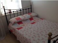 Double bed frame (metal) and mattress