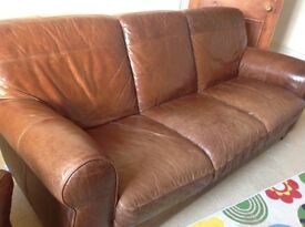 Barker and Stonehouse leather sofa and armchair