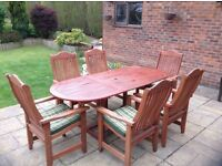 Hardwood outdoor table & chairs for sale