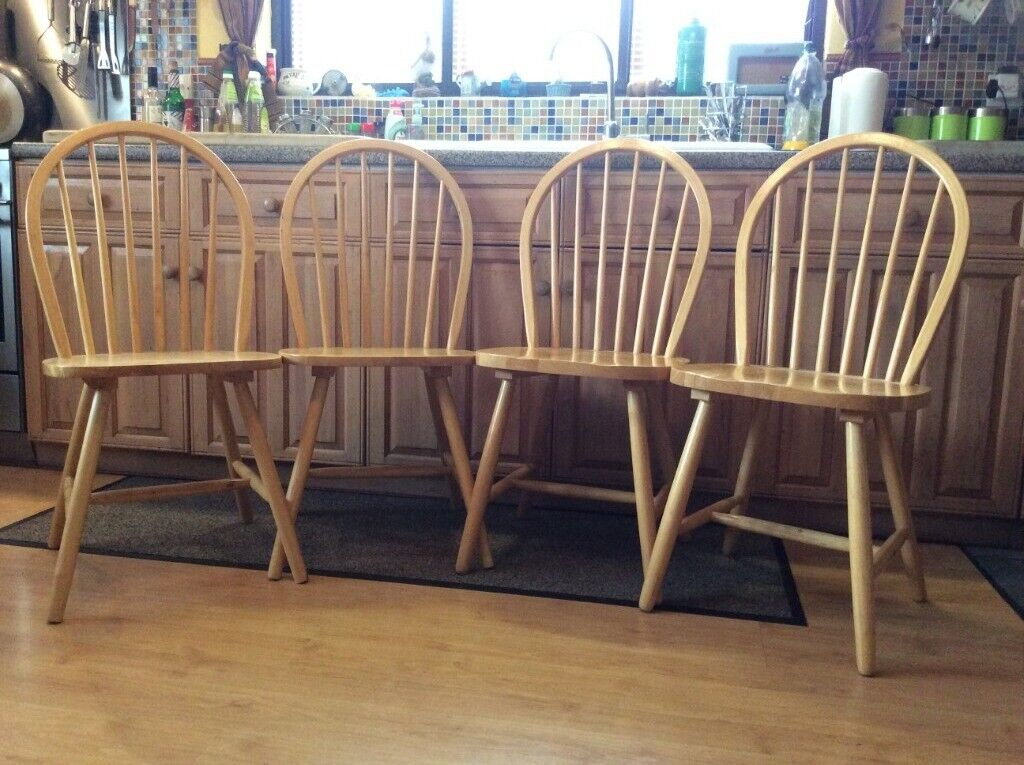 4 X Solid Vintage Farmhouse Wooden Chairs Pos1960s In Norwich Norfolk Gumtree