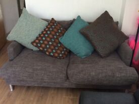 Grey 2 seater sofa and armchair