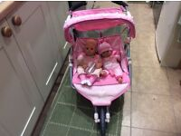 Baby born dolls double buggy and dolls
