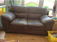 FREE 2 and 3 seater brown leather sofas
