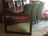 """Beautiful """"Tampica"""" dark wood dining table & 6 chairs, matching FREE MIRROR!"""