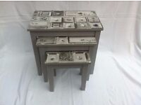 Nest of Tables - with decoupage finish