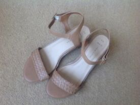 Tan block heels shoes