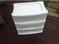 3 drawers plastic storage unit , as new £15