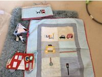 Mamas and papas boys nursery set - made with love- cover, bumper, mobile