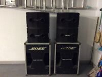 Full Bose p.a. 802 speakers plus 302 bass bins and Bose amp.
