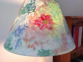 Abstract Flowers Hand Painted Table Lamp pink teal blue