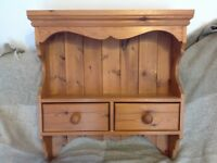 Solid pine wall unit/ dresser/ shelves, antique stain