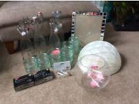 Wedding -6 glass bottles, 16ramekins, mirror frame, 2 lights, fish bowl, 6 glass viles, paper ball