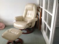 Leather swivel/reclining leather chair with foot rest