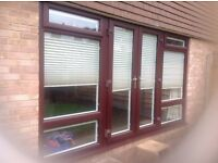 PVC rosewood on White French doors and window unit